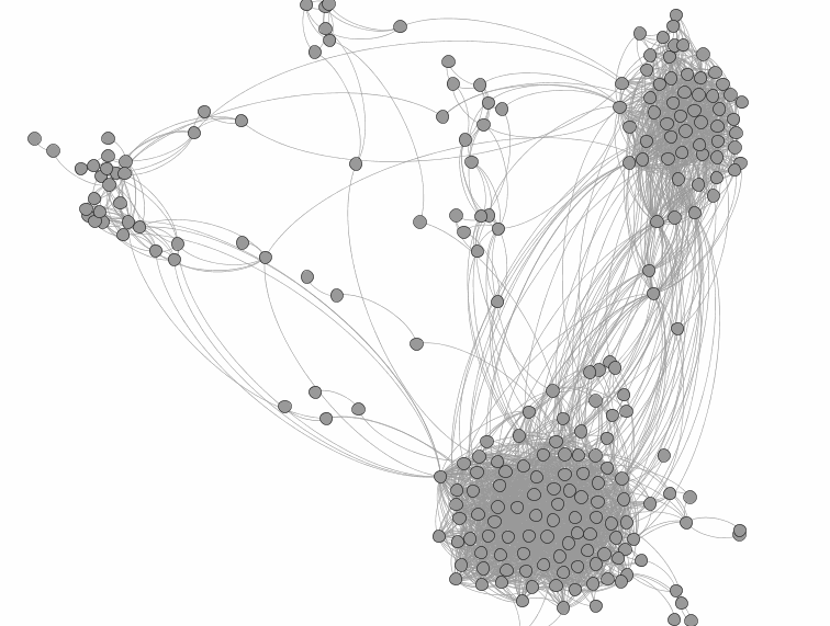 Here is a look at my Facebook social network. The circles would be all of the nodes and the lines between them would be the edges.